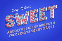 Comical tasty 3d display font design, alphabet, letters. And numbers. Swatch color control stock illustration