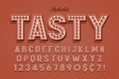 Comical tasty 3d display font design, alphabet, letters. And numbers. Swatch color control royalty free illustration