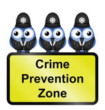 Crime prevention zone. Comical UK crime prevention zone sign isolated on white background Royalty Free Stock Photo