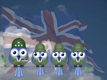 Comical UK Soldiers. Comical UK bird General and Soldiers sat on a tree branch against a cloudy blue sky Royalty Free Stock Image