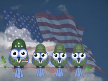 Comical USA Soldiers. Comical USA bird General and Soldiers sat on a tree branch against a cloudy blue sky Stock Images