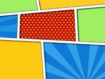 Comics blank layout template with clouds beams and dots pattern on background, pop art style. Halftone book design royalty free illustration