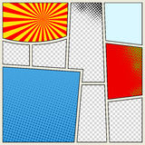 Comics book background in different colors. Blank template background. Pop-art style Royalty Free Stock Image