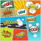 Comics Book Page Bubbles Composition Print Stock Photo