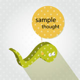 Comics bubble worm  cartoon. Funny yellow worm with comics bubble Royalty Free Stock Photos