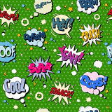 Comics Bubbles Seamless Pattern in Pop Art Style. Vector illustration Royalty Free Stock Images