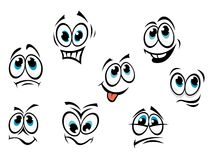 Comics cartoon faces. Set with different expressions Stock Image