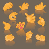 Comics Cartoon Hands, Gestures, Signs vector clip art. Set of cartoon hands and feet Stock Image
