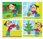 Comics with a Christmas tree Royalty Free Stock Photo