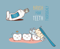Comics about dental diagnostics and treatment. Vector illustration for children dentistry and orthodontics. Cute vector characters. Funny teeth Royalty Free Stock Images