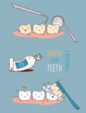 Comics about dental diagnostics and treatment. Stock Photos