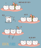 Comics about dental floss. Stock Photo