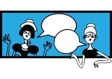 Comics, die Gekritzelfahne sprechen. Weibliche Sitzung und sprechensticke Stockfoto