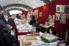 Comics on display at Festival del Fumetto convention in Milan, Italy Stock Image