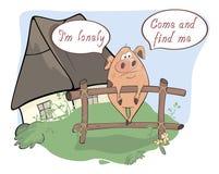 Comics eines kleine traurige Schweins Stockfotografie