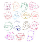 Comics faces. Collection of hand drawn comics characters Royalty Free Stock Photography