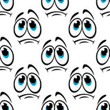 Comics faces with sad eyes seamless pattern Stock Photography