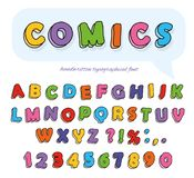 Comics font design. Funny hand drawn letters and numbers. Vector Royalty Free Stock Photography