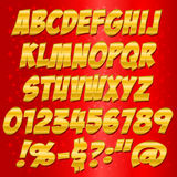 Comics Gold style alphabet collection set Royalty Free Stock Photography