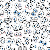 Comics googly eyes seamless pattern background. Funny comics eyes background with seamless pattern of shy glances and surprised gazes, sad sights and angry Stock Photo