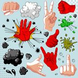 Comics  hands collection Royalty Free Stock Photo