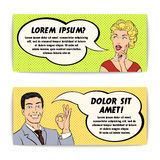 Comics Man And Woman Banner Set royalty free illustration