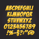 Comics metal gold letters style alphabet collection set. Stock Photos