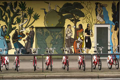 Comics mural. Brussels, Belgium - October 15, 2014: Picture of a comics mural wall and bicycles charter near the cathedral of Antwerp, Belgium. The Belgium is Royalty Free Stock Photography