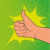 Comics ok icon. Over doted green background vector illustration Royalty Free Stock Photos