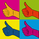 Comics ok icons. Over doted orange background vector illusttration Royalty Free Stock Photo