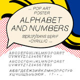Comics pop art alphabet and numbers Royalty Free Stock Image