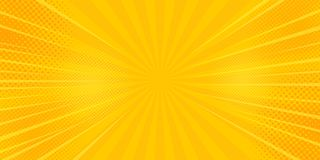 Comics rays background with halftones. Vector summer backdrop. Illustrations royalty free illustration
