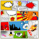 Comics-Schablone Vektor-Retro- Comic-Buch-Sprache-Blasen Lizenzfreie Stockfotografie
