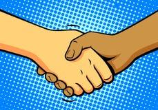 Comics shake hands, vector Stock Photography