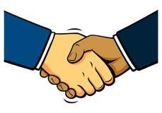 Comics shake hands, vector Royalty Free Stock Image