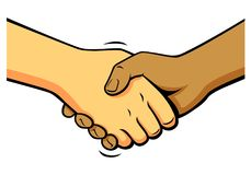 Comics shake hands, vector Stock Photos