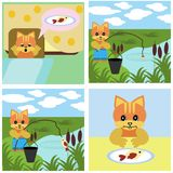 Comics short story about cat. Comics story about ginger cat Royalty Free Stock Image