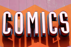 Comics Sign. Comic Book Store Sign stock images