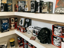 Comics Souvenirs Available For Sale In Comic Book Store. BUCHAREST, ROMANIA - MAY 06, 2017: Comics Souvenirs Available For Sale In Comic Book Store Stock Photography