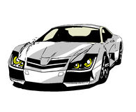 A comics sports car on white background Stock Image