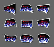 Comics stiker labell Icon fire flames style carton background. For web Stock Photography