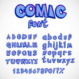 Comics style alphabet collection set. capital and small letters with numbers. vector retro abc in pop art style Royalty Free Stock Photography