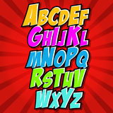 Comics style alphabet collection set Royalty Free Stock Images