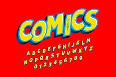 Comics style font. Alphabet letters and numbers stock illustration