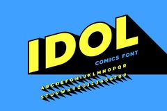 Comics style font design. Alphabet letters and numbers stock illustration