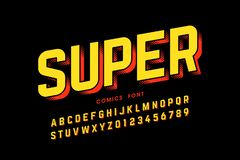 Comics style font. Design, alphabet letters and numbers royalty free illustration