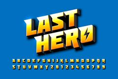 Comics style font design, superhero inspired alphabet. Last hero, letters and numbers royalty free illustration
