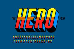 Comics style font design, superhero inspired alphabet. Letters and numbers vector illustration