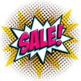 Comics style sale tag. Pink sale web banner. Pop art comic sale discount promotion banner. Big sale background Royalty Free Stock Image