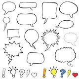 Comics style speech bubbles. Collection set of cute speech balloon doodles plus some punctuation marks, symbols, and bubbles. Vector illustration stock illustration